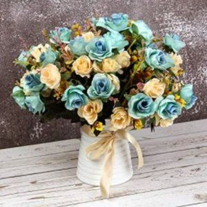 NWT Farmhouse Silk Rose Bouquets with Ceramic Vase